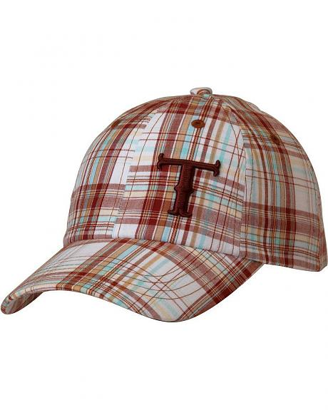 Twister Turquoise, Brown & White Plaid Casual Cap