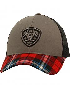 Ariat Velcro Black and Red Plaid Cap