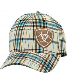 Ariat Plaid Flex Fit Cap White