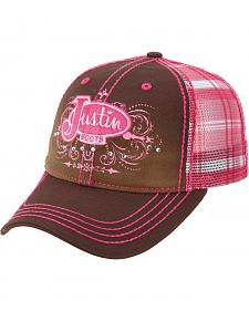 Justin Women's Brown and Pink Ballcap