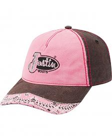 Justin Women's Brown and Pink Bandana Bling Ballcap