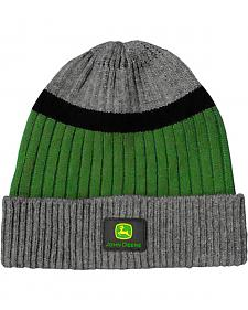 John Deere Charcoal, Black and Green Knit Cuffed Beanie