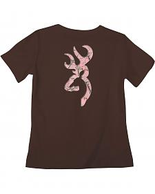 Browning Women's Classic Fit Pink Buckmark Brown T-Shirt
