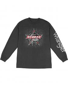 Wrangler Men's Long Sleeve PBR Logo T-Shirt