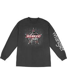 Wrangler Men's Long Sleeve PBR Logo T-Shirt