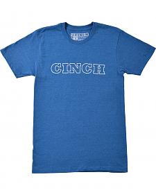 Cinch Men's Blue Screen Print Logo T-Shirt
