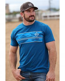 Cinch Men's Blue Logo Screen Print T-Shirt