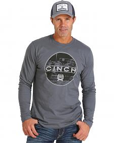 Cinch Men's Long Sleeve Charcoal Grey Logo T-Shirt