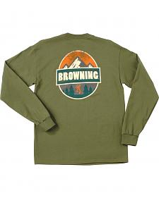 Browning Men's Loden Green Camp Badge Long Sleeve T-Shirt