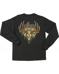 Browning Men's Black Antler Skull Long Sleeve T-Shirt