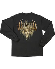 Browning Men's Black Antler Skull Long Sleeve T-Shirt