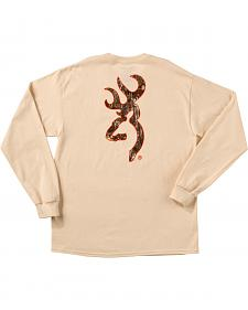 Browning Men's Natural Tan Realtree Buckmark Long Sleeve T-Shirt