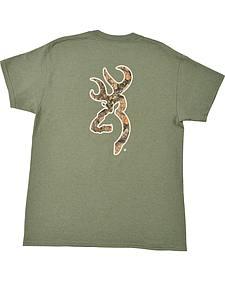 Browning Men's Heather Green Mo Country Buckmark T-Shirt