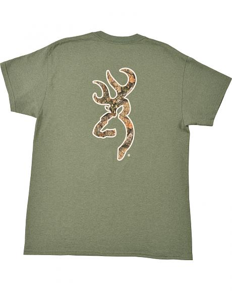 Browning Men's Heather Green Mo Country Buckmark T-Shirt