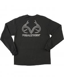 Realtree Men's Black Carbon Fiber Logo Long Sleeve T-Shirt