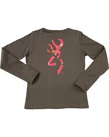 Browning Women's Grey and Fuchsia Buckmark Long Sleeve T-Shirt