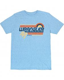 Wrangler Men's Light Blue Retro Wrangler Logo T-Shirt