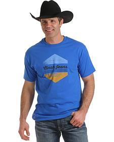 Cinch Men's Royal Blue Front Screen Logo Print Shirt