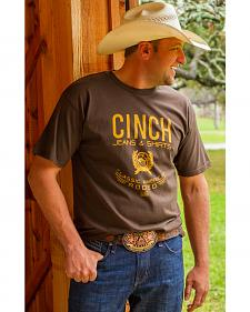Cinch Men's Brown Front Screen Logo Print Shirt