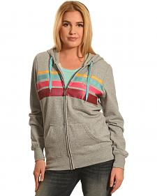Hooey Women's Grey Stripe Chest Full Zip Hoodie