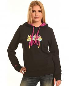 Hooey Women's Black Indian Headdress Logo Hoodie