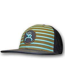 "HOOey Men's Roughy ""Chute"" Aqua Striped Trucker Hat"