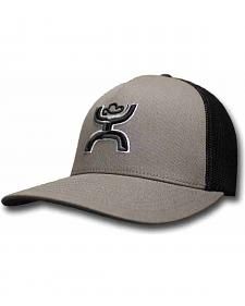 HOOey Men's Grey and Black FlexFit Hat