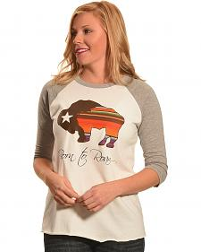 Hooey Women's White Born To Roam Baseball T-Shirt