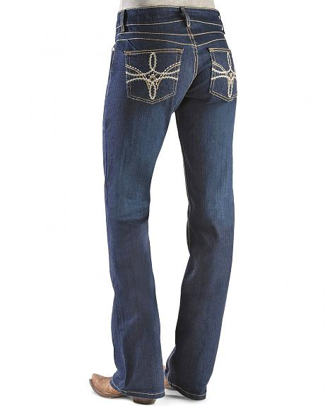 Wrangler Booty Up Swirl Embroidery Pocket Bootcut Jeans