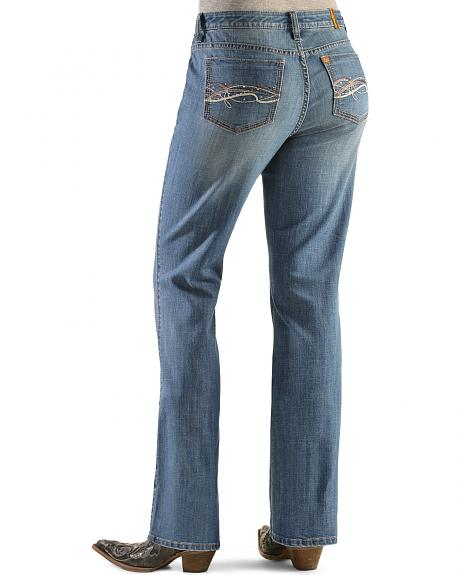 Wrangler Women's Aura Instantly Slimming Embroidered Pocket Bootcut Jeans