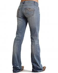 Stetson Women's 816 Classic Fit Distressed Embellished Bootcut Jeans