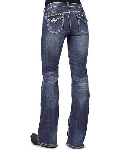 Stetson Womens 816 Classic Fit Embellished Rear Flap Bootcut Jeans Western & Country 11-054-0816-1301 BU