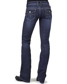 Stetson Women's 818 Dark Rinse Rhinestone Rear Flap Bootcut Jeans