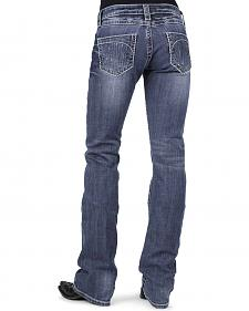 Stetson Women's 818 Contemporary Blue Rhinestone Bootcut Jeans