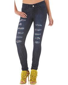 Wrangler Women's Destructed Dark Skinny Jeans