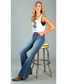 Wrangler Women's Five Button High Waisted Flare Leg Jeans
