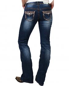 Shyanne Women's Bronze Stitched Boot Cut Jeans