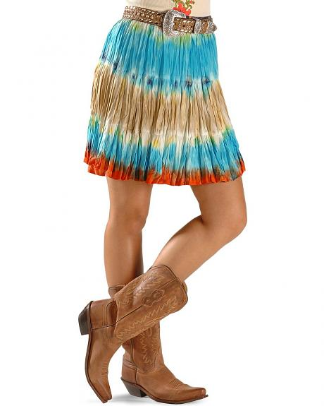 Cattlelac Ranch Tie-Dye Short Pleated Skirt
