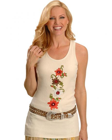Cattlelac Ranch Embroidered Cream Tank Top