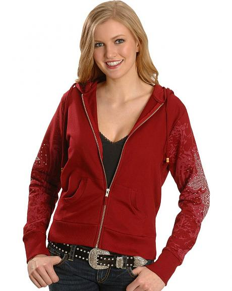Cattlelac Ranch Embellished Red Fleece Hoodie