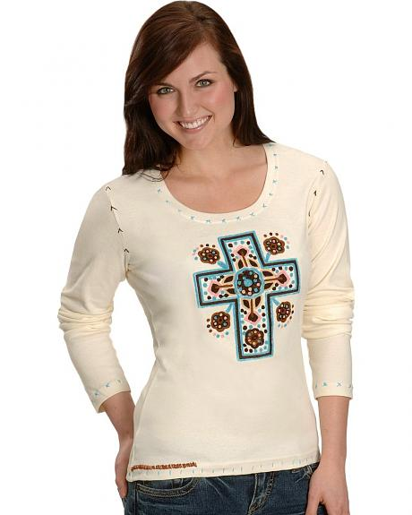 Pink Cattlelac Sierra Vista Cross Embroidery Tee