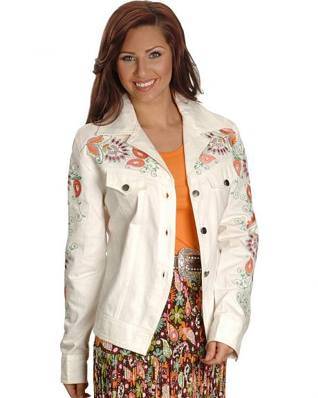 Cattlelac Ranch Embroidered White Denim Jacket