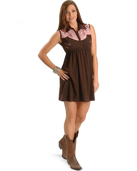 Pink Cattlelac Embroidered Brown Knit Dress