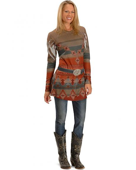 Long Sleeve Western Design Tunic