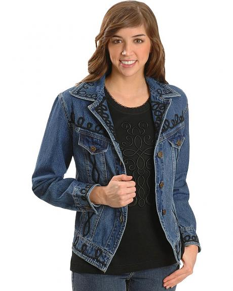 Cattlelac Ranch Women's Embroidered Swirl Cross Denim Jacket