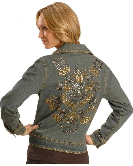 Cattlelac Ranch Women's Washed Denim Nailhead Jacket