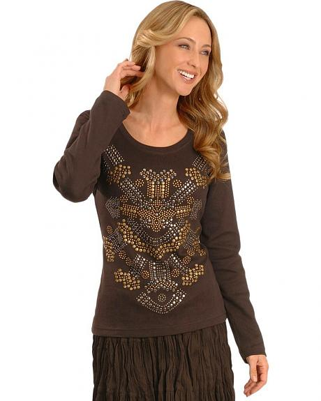 Cattelac Ranch Women's Nailhead Embellished Tee