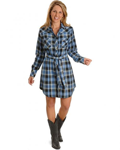 Exclusive Gibson Trading Co. Blue Plaid Flannel Shirt Dress