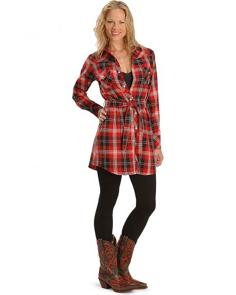 Exclusive Gibson Trading Red Plaid Flannel Shirt Dress