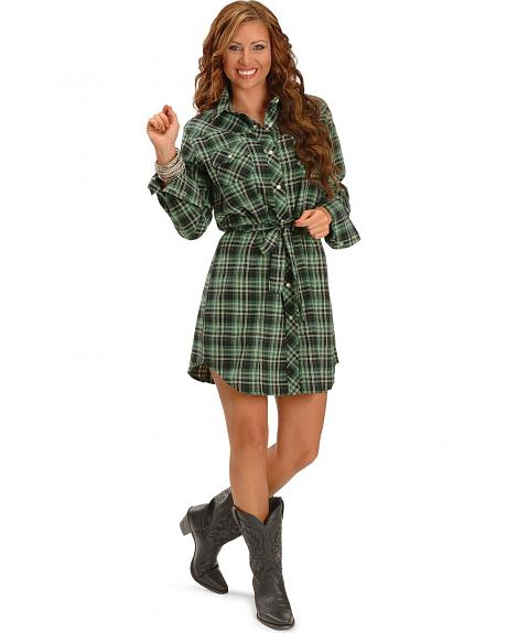 Exclusive Gibson Trading Green Plaid Flannel Shirt Dress